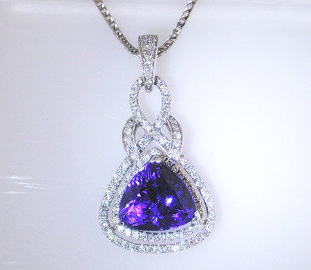 Stunning  Design Pave Diamond Pendant with a 5.20ct Tanzanite by Simon G.