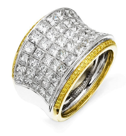 18k Yellow and White Gold Simon-Set Princess Cut Wide Diamond Band by Simon G.