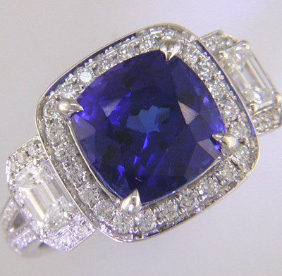 Cushion Halo Sapphire Ring with Emerald Shape Accent Diamonds by Simon G.