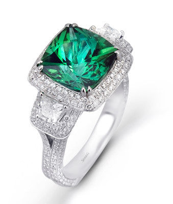 Stunning 18k White Gold 3-Stone Pave Halo Ring Featuting a 5.40ct Green Tourmaline by Simon G.