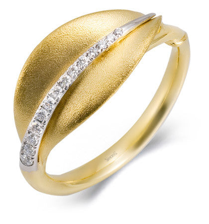 Soothing 18k Satin Leaf Design Ring with Pave Diamonds by Simon G.