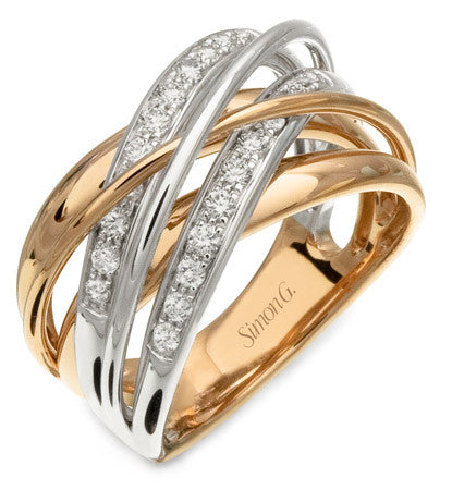 Intertwined 18k White and Rose Gold Layered Band by Simon G.