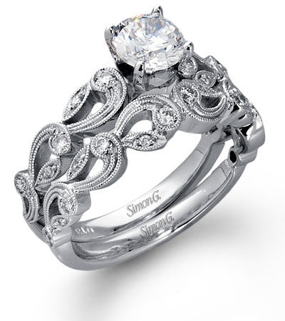 Delicate Paisley Design Wedding Ring with Diamonds by Simon G.