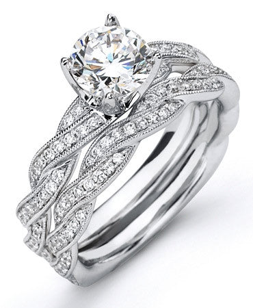 Softly Woven Design Pave Diamond Wedding Ring by Simon G.