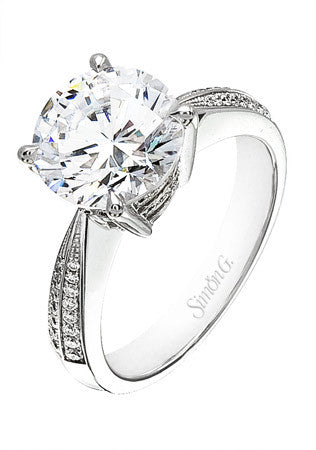 Graceful Micro Pave Solitaire Engagement in 18k White Gold Ring by Simon G.