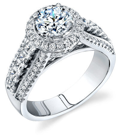 Beautiful and Brilliant Diamond Halo Engagement Ring from Simon G.