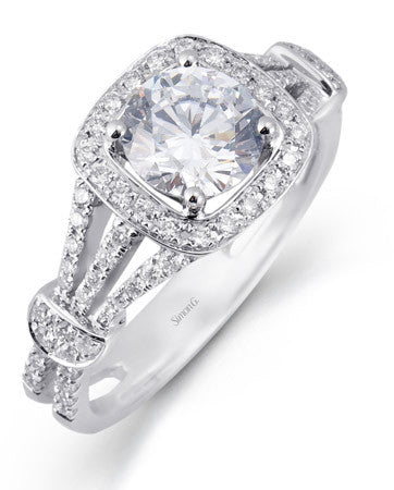 """Cinched"" Triple Pave Shank and Cushion Halo Engagement Ring by Simon G."
