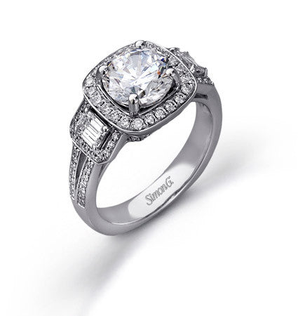 Showy 18k White Gold Three Stone Pave Diamond Ring by Simon G.