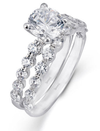 Shared Prong Diamond Engagement Ring Set from Simon G.'s Delicate Collection