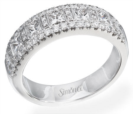 Pave Set Princess Cut Diamond Band by Simon G