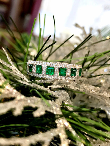 Diamond and Emerald Band by Simon G