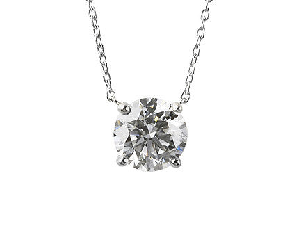 Classic Diamond Solitaire Pendant by Teels Jewelry