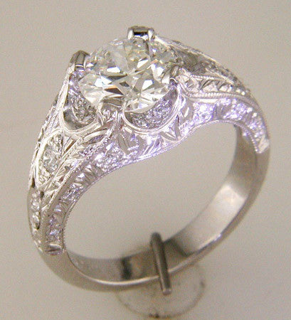 Vintage Custom Designed Ring with Pave Set Diamonds with Artful Hand Engraving by Teels Jewelry