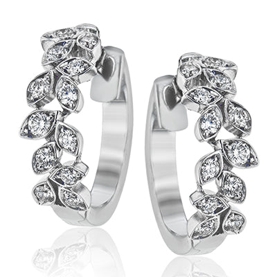 Diamond Floral Hoop Earrings by Simon G