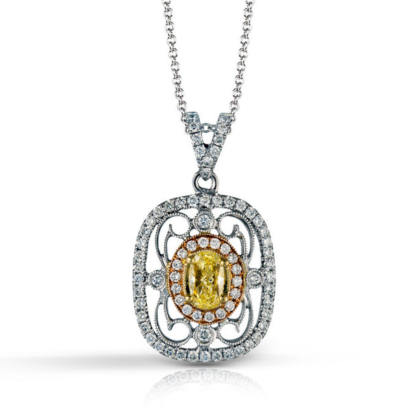 18k White and Rose gold Vintage Pendant with Fancy Yellow Diamond center from Simon G.