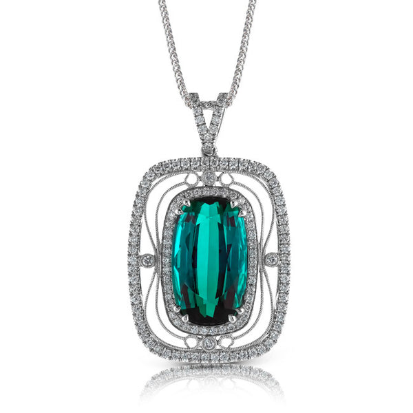 Vintage Style Pave Diamond Pendant in 18k White Gold with Green Tourmaline by Simon G.