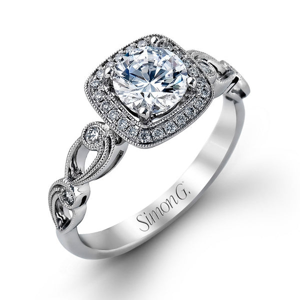18k White Gold Art Deco Pave Halo Diamond Ring from Simon G.