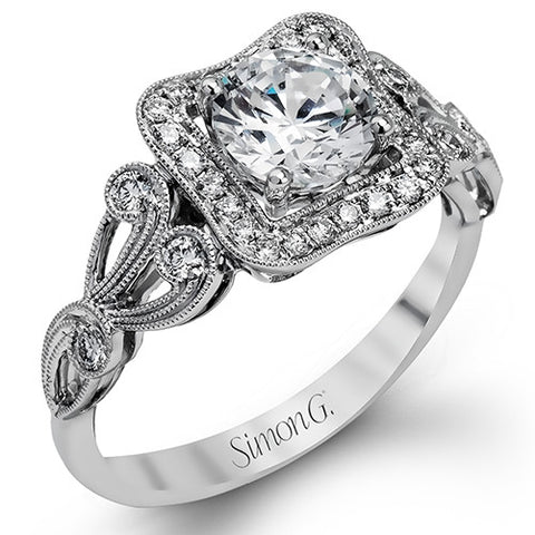 18k White Gold Square Halo Floral Design Engagement Ring by Simon G.