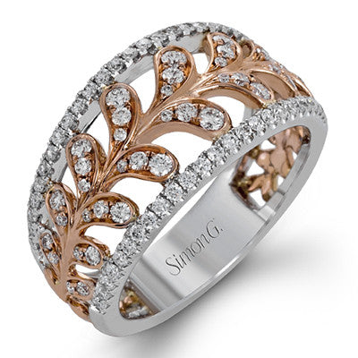 Lovely Diamond Leaf Band in Rose and White Gold from Simon G.