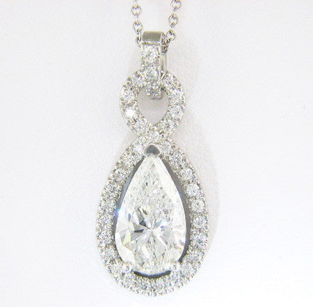 "Stunning Custom Platinum ""Figure 8"" Pave Diamond Pendant by Teels Jewelry"