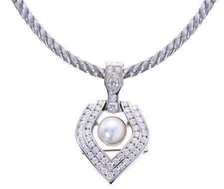 Custom Designed Diamond and Pearl Pendant and Brooch in White Gold by Teels Jewelry