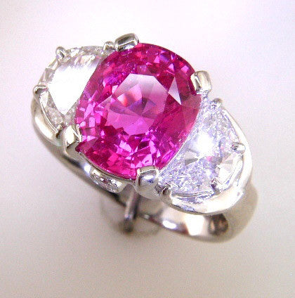 Spectacular Custom Platinum 5.16ct Pink Sapphire with Crescent Diamond Sides Designed by Teels Jewelry