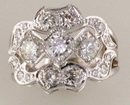 Art Deco Style Custom Design Diamond Ring by Teels Jewelry