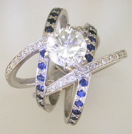 Custom Designed Blue Sapphire and Diamond Pave Crisscross Ring by Teels Jewelry