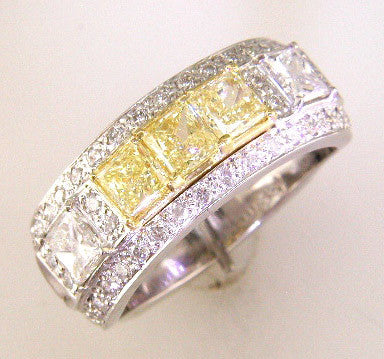 Classic Custom Design Band with Princess-cut Fancies and White Diamonds by Teel's Jewelry