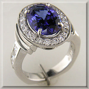 Sensational Custom Designed Tanzanite and Diamond Ring by Teels Jewelry