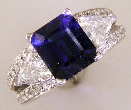 Custom Designed Blue Sapphire and Fancy Shape Diamond Ring by Teels Jewelry