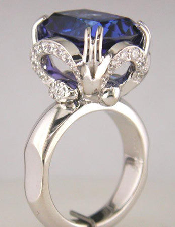 Superb Custom Designed 18k White Gold and Tanzanite Ring by Teels Jewelry