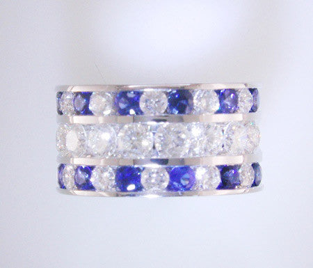 Wide Custom Three Row Channel Set Sapphire and Diamond Band in 18k White Gold by Teels Jewelry