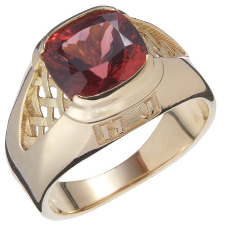 Mens Custom Designed Ring with a Fabulous Imperial Garnet Center Stone by Teels Jewelry