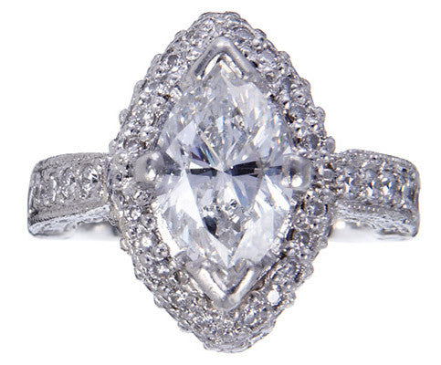 Sleek and Slender Custom Platinum Marquise Diamond Halo Ring by Teels Jewelry