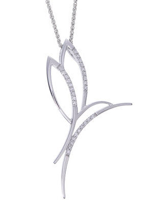 Playful 14k White Gold Fluttering Diamond Hummingbird Pendant