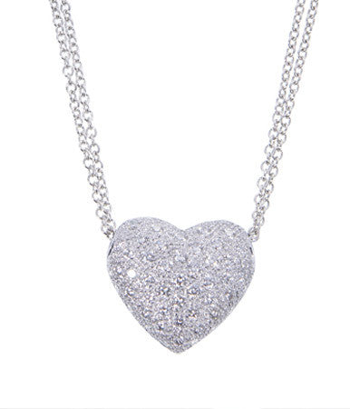 Glitzy Puffed Pave Diamond Heart Pendant featured by Teels Jewelry