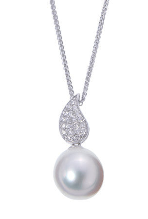 Elegant Pearl and Diamond Pendant in 14k White Gold featured by Teels Jewelry