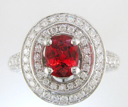 Magnificent Red Spinel Double Halo Diamond Ring in 18k White Gold