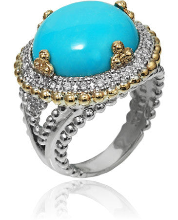 Silky Smooth Turquoise Diamond Ring by Vahan