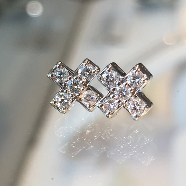 "Sweet ""X"" Diamond Earring Studs"
