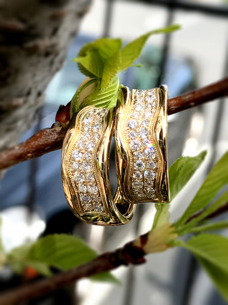 Gorgeous Yellow Gold Diamond Hoop Earrings by MWI Eloquence