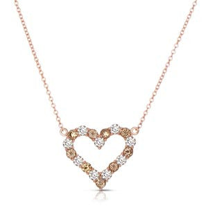 Sweet Open Heart Pendant with Fancy Color and White Diamonds by MWI Eloquence