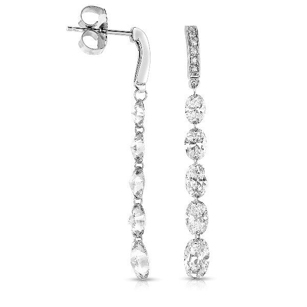 Gorgeous 14k White Gold Oval Diamond Dangle Earrings by MWI Eloquence