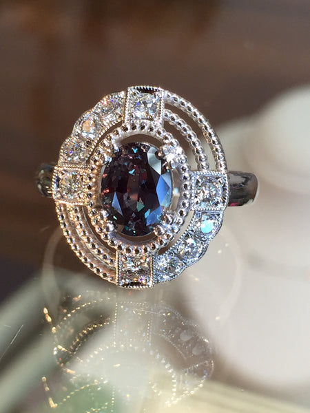 Gorgeous Custom Alexandrite and Diamond Ring by  Teel's Jewelry