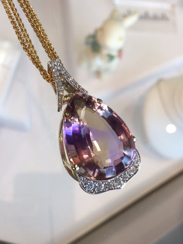Custom Ametrine and Diamond Pendant by Teel's Jewelry