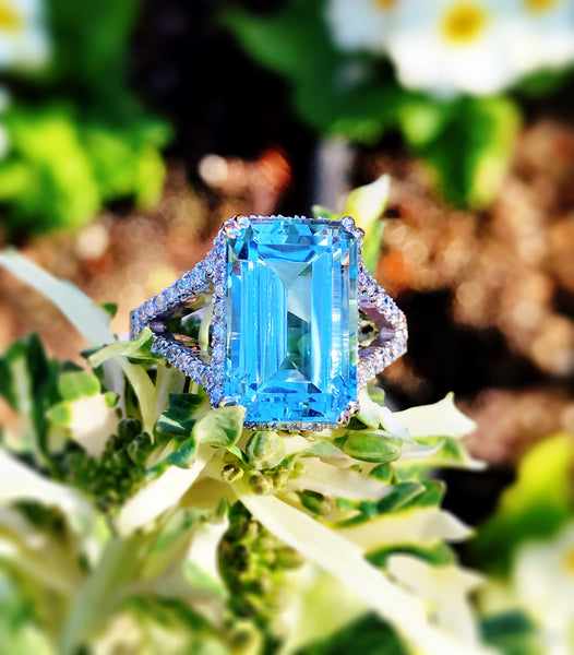 Elegant Custom Designed Aquamarine Diamond Ring by Teel's Jewelry