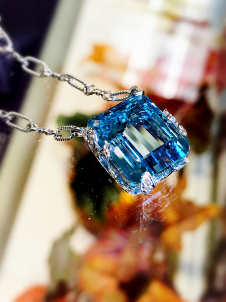 Custom Aquamarine and Diamond Pendant