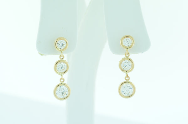 Custom Bezel Set Diamond Earrings by Teel's Jewelry