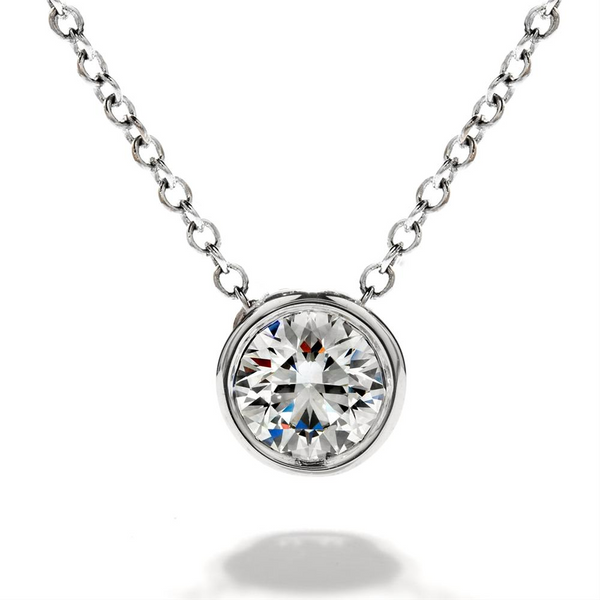 Handmade Bezel Set Diamond Pendant by Teels Jewelry